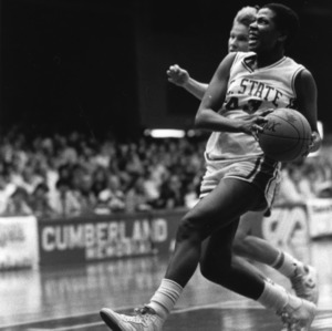 N.C. State's #43 Linda Page running up for a shot during a game, 1982-1983 season