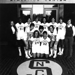 1975-1976 N.C. State University women's basketball team group photo