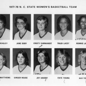 1977-1978 N.C. State University women's basketball team -- player portraits