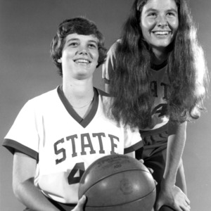 1978-1979 N.C. State University women's basketball co-captains Cristy Earnhardt and Lorraine Owen