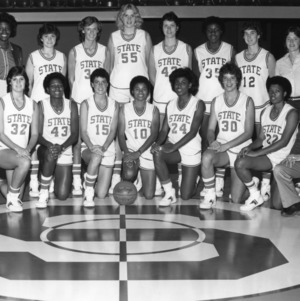 1982-1983 N.C. State University women's basketball team -- players roster for a game against East Carolina