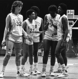 Snapshot of N.C. State University women's basketball team during game