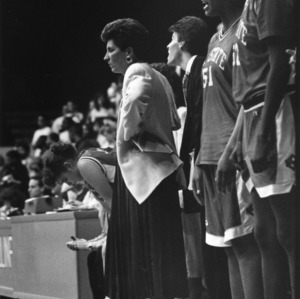 Head coach Kay Yow on the sidelines during a basketball game