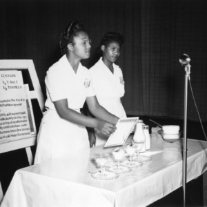 Winners of 4-H team demonstration in how to make boiled custard, 1947