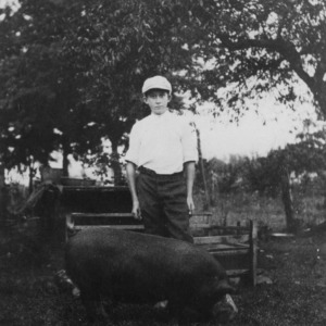 4-H Pig Club member Richard Conn of Arcola, North Carolina, standing with a pig