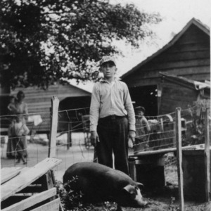 4-H pig club member standing with a pig