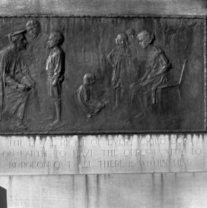 Monument in downtown Raleigh celebrating educational opportunity