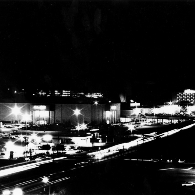 Aeriel view of Crabtree Valley Mall at night