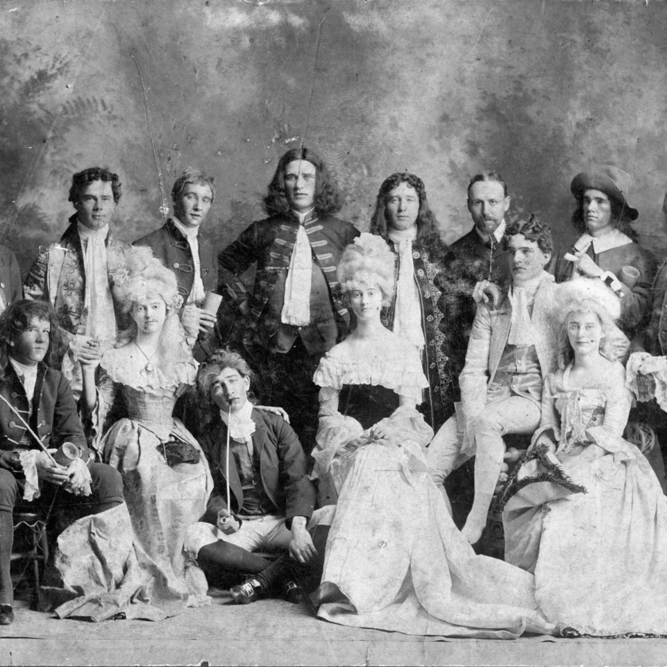 "Dramatic club, cast of ""She Stoops to Conquer,"" presented April 13, 1903, North Carolina College of Agriculture and Mechanic Arts."