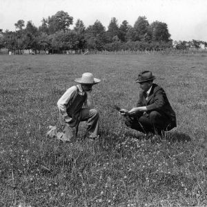 Shelton Morgan, boys club member, and county agent discussing permanent pasture demonstration, Elizabeth City, N.C., May 19, 1924.
