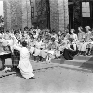 Demonstration at a girls sewing club, Weeksville, Pasquotank County, N.C., May 19, 1924.