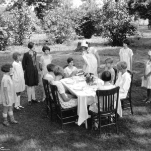 Linwood Girls Club members giving a demonstration in table service, Davidson County, North Carolina, August 5, 1927