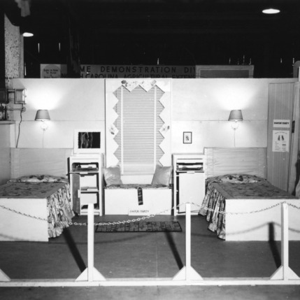 4-H home-making exhibit of a bedroom