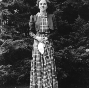 4-H club member participating in the North Carolina State 4-H Dress Revue in October 1937 at North Carolina State College in Raleigh