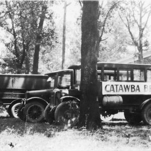 Catawba County, North Carolina, bread makers' truck parked behind a tree