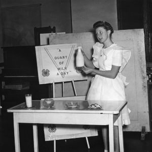 Marion Baulware of Mecklenburg County, North Carolina, performing a dairy foods demonstration