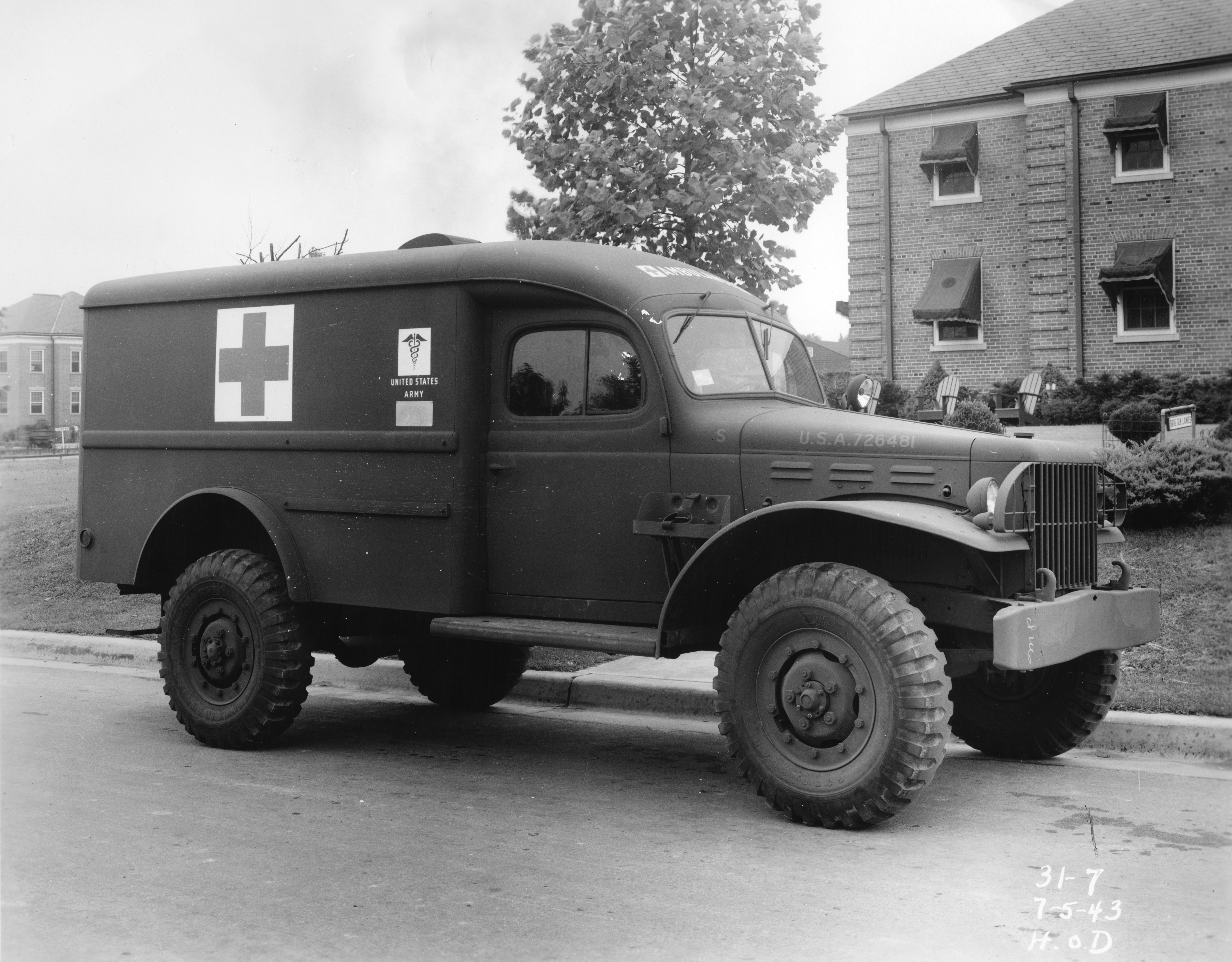 An ambulance presented to the United States Army Medical Department on July 3, 1943, in honor of former 4-H club members serving in the armed forces
