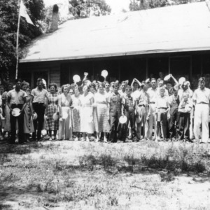 4-H members lining up for dinner at White Lake, North Carolina 4-H Camp, August, 1934