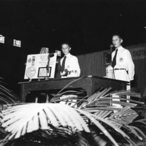 Frank King, right, and Max Merritt, left, giving a presentation during North Carolina State 4-H Club Week