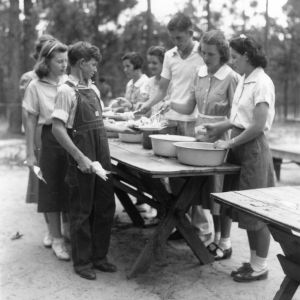 4-H campers serving a meal at the Wildlife Conservation Camp in Indian Springs, North Carolina