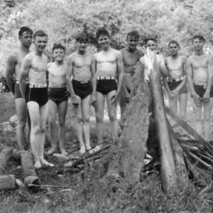 4-H club members in swimsuits, posing next to river, John's River Camp