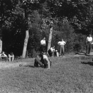4-H club members playing horseshoes, John's River Camp