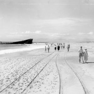 Remains of wrecked ship on beach near Manteo, North Carolina, 4-H Camp
