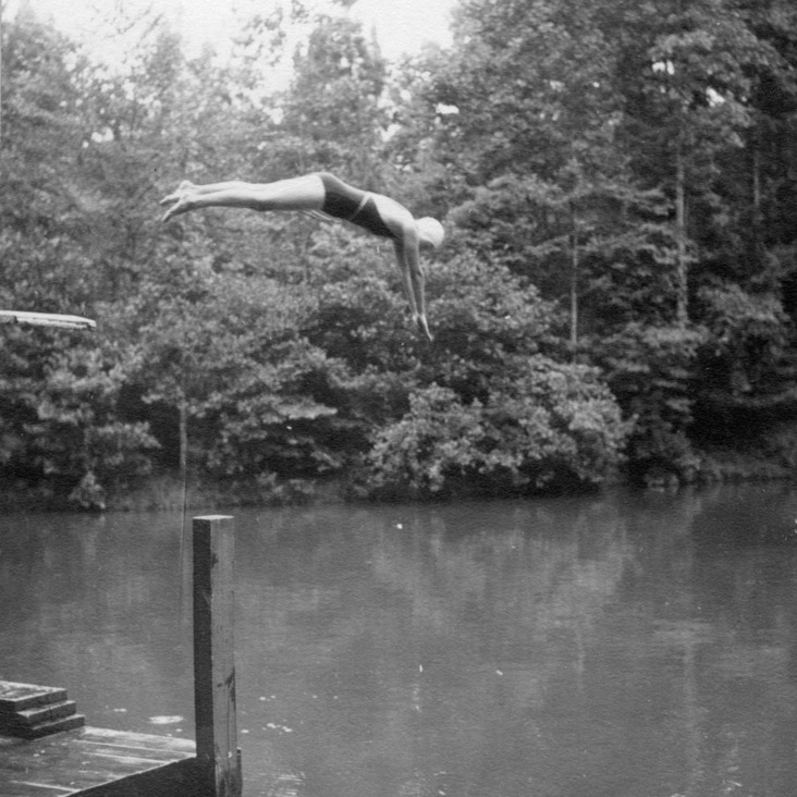 4-H club member diving into water at Millstone 4-H Camp, 1936