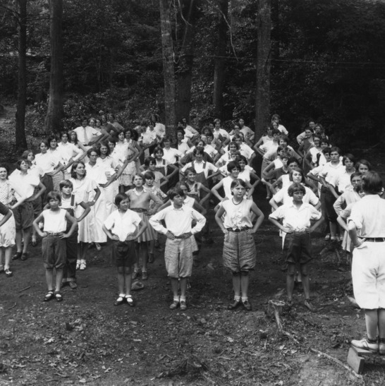 4-H Club camp, Swannanoa, North Carolina, setting up exercises, girls from Buncombe, Madison, Rutherford Counties, July 14-18, 1930