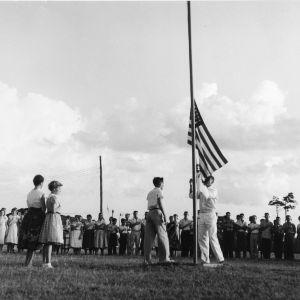 4-H Camp, Manteo, North Carolina, flag lowering ceremony, first week of August, 1955