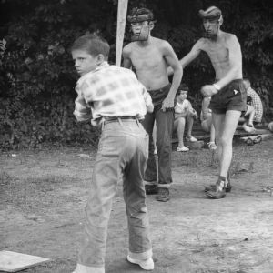 4-H club members playing baseball at Swannanoa 4-H Camp