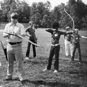 4-H club members practicing archery at the Betsy-Jeff Penn 4-H Educational Center