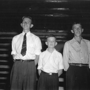 Three 4-H club boys from Vance County standing together in 1942