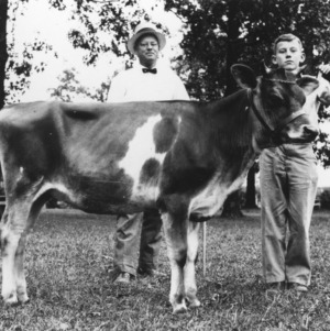 4-H club member holding his calf at the Iredell County 4-H Calf Show, October 22, 1934