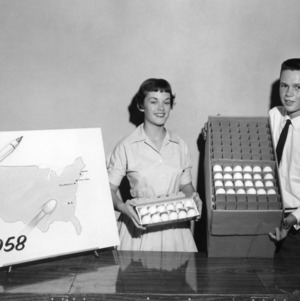 4-H club team demonstration winners in poultry marketing, Patsy Harris and David Morton of Stanly County, North Carolina, 1958