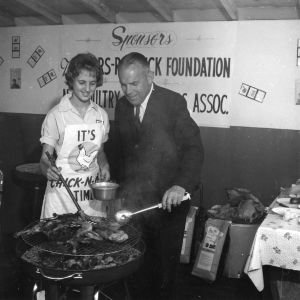L. Y. Ballentine, North Carolina Commissioner of Agriculture, at 1962 North Carolina State Fair 4-H poultry barbecue demonstration