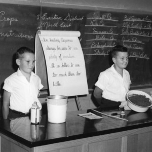 4-H club boys participate in North Carolina State 4-H demonstration competition, 1957