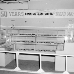 An exhibit of bread made by 4-H club members at the North Carolina State Fair in Raleigh