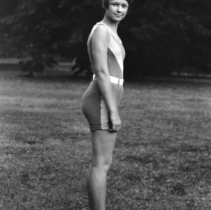 4-H queen of health posing in a bathing suit at North Carolina State 4-H Short Course held at North Carolina State College in Raleigh