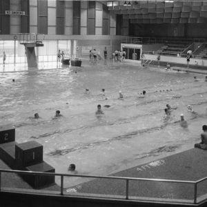 4-H club members swimming at North Carolina State 4-H Club Week