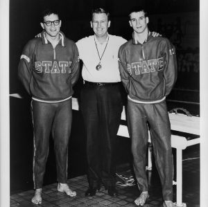Coach Willie Casey with his all-American swimmers Pete Fogarasy and Ed Spencer