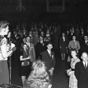 A women speaking at the 25th National 4-H Club Congress, December 1-5, 1946