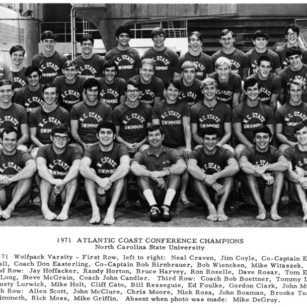 Atlantic Coast Conference Champions N. C. State Swim Team, 1971