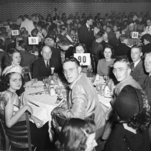 4-H club members and leaders, including L. R. Harrill, attending the Sears-Roebuck Breakfast at the National 4-H Club Congress, December 3, 1947