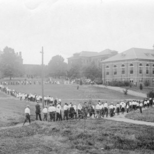 4-H club members going to dinner in the summer of 1917 at North Carolina State 4-H Short Course at North Carolina State College