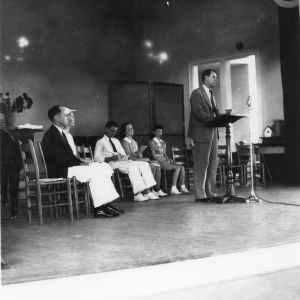 Clyde Ervin addressing 4-H group at North Carolina State 4-H Short Course, 1938