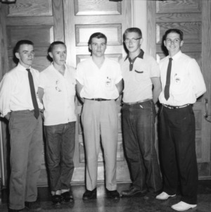 Five male 4-H club members posing during North Carolina State 4-H Club Week