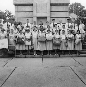 4-H club members in front of North Carolina State College Bell Tower during North Carolina State 4-H Club Week