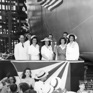 4-H club members, L. R. Harrill, and others launching the U.S.S. Tyrrell on July 10th, 1944, in Wilmington, North Carolina
