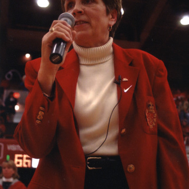 Kay Yow speaking at women's basketball game